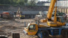 Construction site crane stock footage