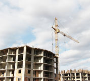 Construction site with crane. Photo of the construction site with crane Stock Photos