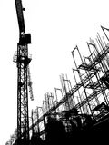 Construction Site with Crane and Scaffolding. Seen in outline form Stock Photography