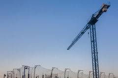 Construction site with crane and security net Stock Photos