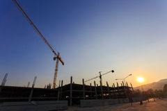 Construction Site with crane on sunset Royalty Free Stock Images