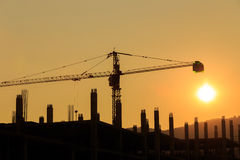 Construction Site with crane on sunset Stock Photos