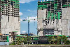 The construction site. With crane tower Royalty Free Stock Photography