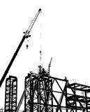 Construction Site with Crane and Workers Royalty Free Stock Photography
