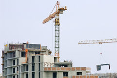Construction site and cranes Royalty Free Stock Photo