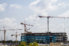 Construction site with cranes . Royalty Free Stock Photography