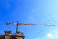 Construction site with cranes Royalty Free Stock Images