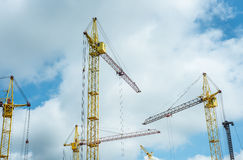 Construction site with cranes on the sky Stock Photography