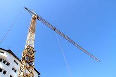 Construction site with cranes on sky background. Photo Royalty Free Stock Images