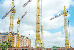 Construction site with cranes on the sky Royalty Free Stock Image