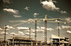 Construction site with cranes Stock Photography