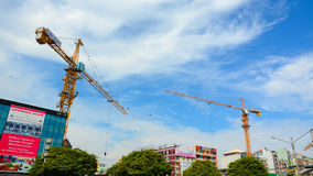 Construction site with cranes in Yangon Royalty Free Stock Photo