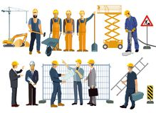 Construction site with craftsmen and architects Royalty Free Stock Image