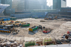 Construction site of Crossrail Place in Canary Wharf. London, UK - March 27, 2017 - Construction site of Crossrail Place in Canary Wharf Stock Photography