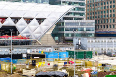 Construction site at Crossrail Place in Canary Wharf. London, UK - May 24, 2017 - Construction site at Crossrail Place in Canary Wharf with the station in the Stock Photos