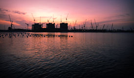 Construction site at dawn Royalty Free Stock Images