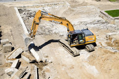Construction site. Demolishing building at construction site Royalty Free Stock Photo
