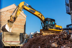 Construction site during the demolition of a house Royalty Free Stock Image