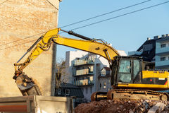 Construction site during the demolition of a house Stock Image