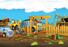 On the construction site different workers doing their jobs Royalty Free Stock Image