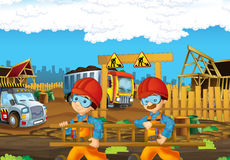 On the construction site different workers doing their jobs Royalty Free Stock Photography
