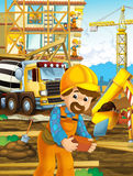 On the construction site different workers doing their jobs Royalty Free Stock Photos