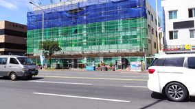Construction site at downtown in Jeju, Korea stock footage