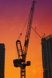 Construction site. In Dubai with red sky Royalty Free Stock Photos