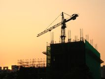 Construction Site at Dusk Royalty Free Stock Photography