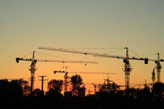 Construction site at dusk Royalty Free Stock Photos