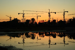 Construction site at dusk Stock Image