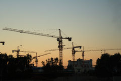 Construction site at dusk Stock Photography