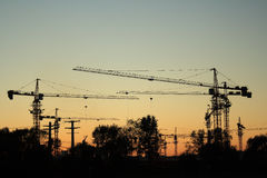Construction site at dusk Stock Photos
