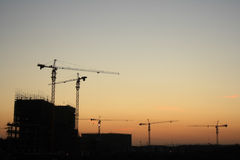 Construction site at dusk Royalty Free Stock Photo