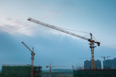 Construction site at dusk Royalty Free Stock Images