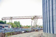 Construction site elevator, granary. A Royalty Free Stock Images
