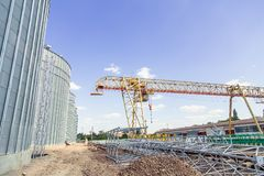 Construction site elevator, granary. A Royalty Free Stock Photography