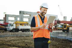 Construction Site Engineer Working Blueprint Royalty Free Stock Images