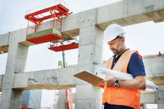 Construction Site Engineer Working Blueprint Royalty Free Stock Photo
