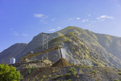 The construction site at the entrance of Fish Canyon Falls Trail. Los Angeles Royalty Free Stock Image