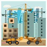 Construction site with equipment stock illustration