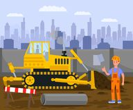 Construction Site, Excavation Work Illustration. Young Builder in Overalls and Hard Hat Cartoon Character. Bulldozer, Earthmover, Heavy Machinery, Digging stock illustration