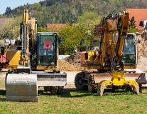 Construction site with excavators stock photography