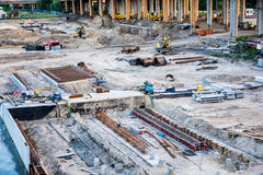 Construction site with a few cranes Stock Photos