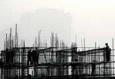 Construction site in the fog. Stock Images