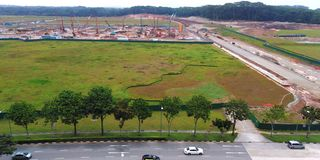 Construction site at forest clearing in Singapore. A construction site on an empty land after a section of Tengah forest was cleared in Singapore asia nature stock photography