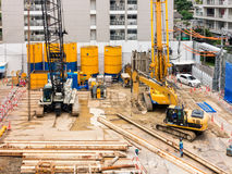 Construction site and foundation earthwork.  Royalty Free Stock Image