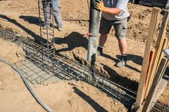 construction site, a foundation is laid stock photo