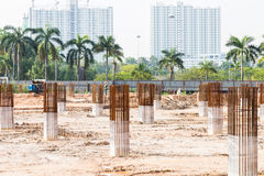 Construction site foundation pillars and columns Stock Photography