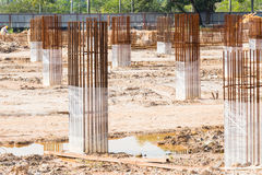 Construction site foundation pillars and columns Stock Image